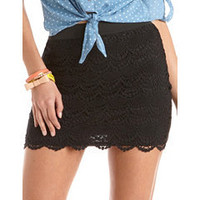 Scalloped Lace Mini Skirt: Charlotte Russe