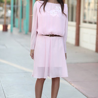 Pink Chiffon Long Sleeve Pearl Flower Draped Dress - Elenor