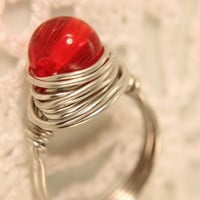 wire wrapped ring red glass bead ring size 65 by WakeUpTheAngel