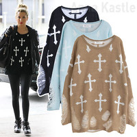 AnnaKastle New Womens Punk Gothic Cross with Rips Knit Grunge Sweater Top