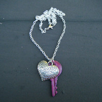 Heart and Vintage Enameled Key Necklace