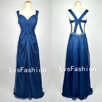 Straps V neck Sweetheart with Beading Chiffon Long Royal Blue Prom Dresses Evening Gown, Evening Dresses, Wedding Party Dresses