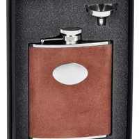 "Visol ""Cowboy"" Brown Leather 6oz Flask Gift Set"