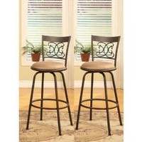 Amazon.com: Bronze Finish Scroll Back Adjustable Metal Swivel Counter Height Bar Stools (Set of 2): Home & Kitchen