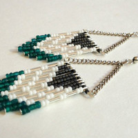 Teal, Silver and, Gray Beaded Chevron Earrings