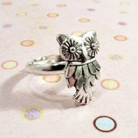 Owl Charm Ring, Woodland Bird Cute Silver Hoot