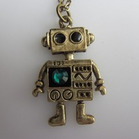 MINI ROBOT A Vintage Style Robot Charm Necklace by lovespelljewels