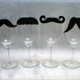Funny Valentine Gift  Moustache Wine Charms Set of by AWineTwist