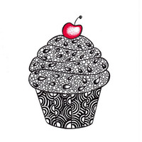 Cupcake Drawing Ink Illustration Print Zentangle 5 x 7 by JoArtyJo