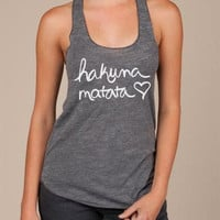 Hakuna Matata Burnout Racerback Tank Top in Grey by ShopRIC