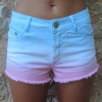 Blue/pink and white gradual fade denim high waist shorts from Lucky Dress