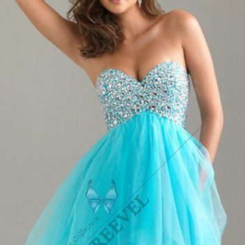 Stock Sweetheart Sequin Bodice Mini  Party Dress  Homecoming Cocktail Prom Gown