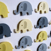 Yellow and Gray Baby Elephants  3D Whimsy by aboundingtreasures