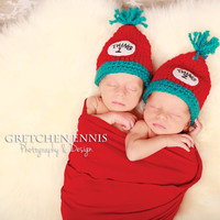 Knit Crochet Baby Twins Hat Thing 1 and Thing by OopsIKnitItAgain