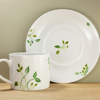 Ceramic Coffee Cup with Saucer Green Leaves Queen Anne&#x27;s Lace botanical design  Tea Cup Hand Painted Kitchen Decor