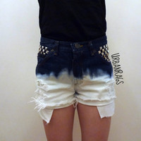 Ombre Denim Jean Studded Distressed Shorts (High Waisted, Low Rise, or Mid Rise)