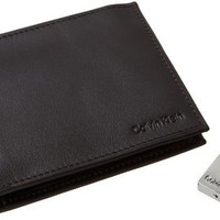 Amazon.com: Calvin Klein Men's Leather Bookfold,Brown,One Size: Clothing