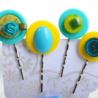 Key West bobby pin set of four buttons vintage by WakeUpTheAngel