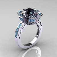 Modern French 14K White Gold Black Diamond Blue Topaz Wedding Ring, Engagement Ring R224-14KWGBTBD