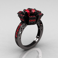 Modern French 14K Black Gold Rubies Wedding Ring, Engagement Ring R224-14KBGR