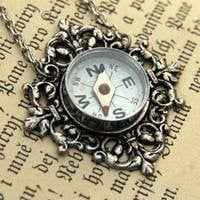 Travelers Compass Necklace - $24.00 : RagTraderVintage.com, Handmade Indie Retro Accessories