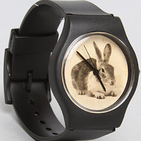 The Vintage Bunny Watch with Black Band