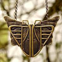 Brass Mothra Necklace - $20.00 : RagTraderVintage.com, Handmade Indie Retro Accessories