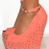 LADIES CORAL PINK PEEP T...