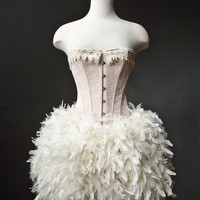 Custom Size Peach and Ivory Burlesque Feather Corset by Glamtastik