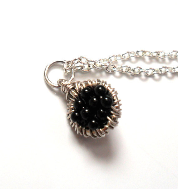 Onyx Capricorn gemstone Necklace Sterling silver by Daniblu