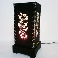 Black Flower Mulberry paper Table Lamp for wedding and bedroom decoration
