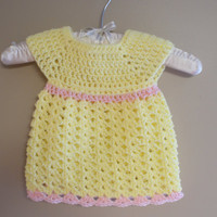 Crochet Baby Dress, Yellow Infant Girl Clothes, Summer Baby Dress, Newborn Dress, Baby Girl Dress, Baby Girl Clothes, Yellow Easter Dress