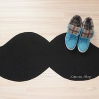Mustache floor mat. Custom doormat. Cool rug silhouette