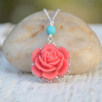 Coral Red Rose and Turquoise Classic and Simple Summer Necklace Jewelry Gift for Her.  Free Shipping.