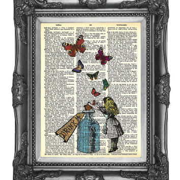 DRINK ME Alice in Wonderland 18 Dictionary Print Art by nommon