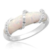 10k White Gold Created Opal with Diamond Wrap Ring, Size 8