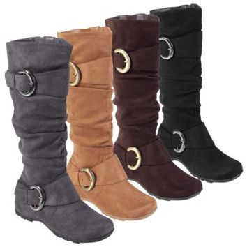 Journee Collection Buckle Accent Slouchy Mid-calf Boots