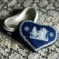 Vintage Wedgwood Cobalt Blue Heart Shaped Box by CalloohCallay