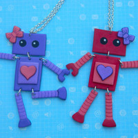 Best Friend Girly Wiggle Bot Necklace Set