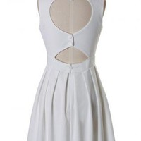 White Sleeveless Chiffon Dress with Heart Cutout Back
