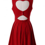 Red Sleeveless Chiffon Dress with Heart Cutout Back