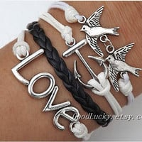 Be kind to each other and love each other bracelet--silver anchor, bird and LOVE bracelet--white wax rope and black Leather braided bracelet