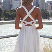 White Dress with Cross Open Back &amp; Lace Bodice
