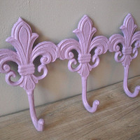 upcyceld triple cast Iron  Fleur De Lis hooks  by MamaLisasCottage