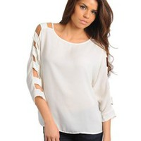 Cream Cut Out Sleeve Top  Tanny&#x27;s Couture LLC