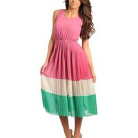 COLOR BLOCK PLEATED CHIFFON DRESS - PINK GREEN IVORY  Tanny&#x27;s Couture LLC