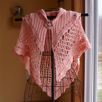 Crochet Triangular Shawl Pink Alpaca Wool
