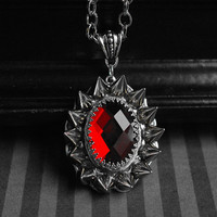 Gothic/dark victorian glass cabochon necklace with spikes - ruby red - unisex jewelry