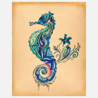 Green Girl Canvas: Seahorse 11x14, at 16% off!