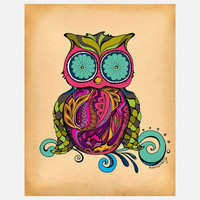 Green Girl Canvas: Owl 11x14, at 16% off!